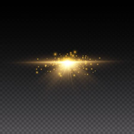 Sparkling magical dust particles. Yellow glowing light explodes on a transparent background. Transparent shining sun, bright flash. To center a bright flash. Bright Star. Vector sparkles. 向量圖像