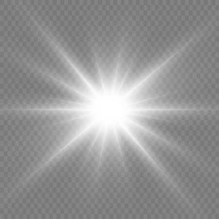 Bright Star. Transparent shining sun, bright flash. White glowing light explodes on a transparent background. Sparkling magical dust particles. Vector illustration. EPS 10. Ilustracje wektorowe
