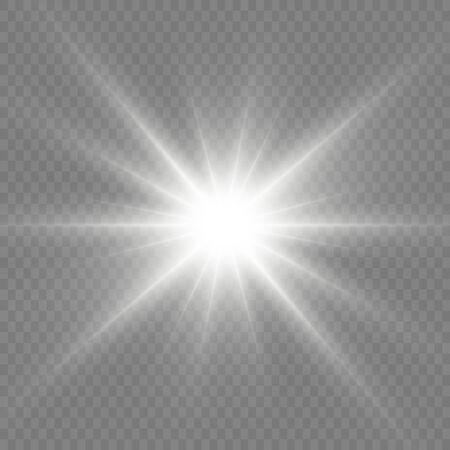 Bright Star. Transparent shining sun, bright flash. White glowing light explodes on a transparent background. Sparkling magical dust particles. Vector illustration. EPS 10. Ilustração Vetorial