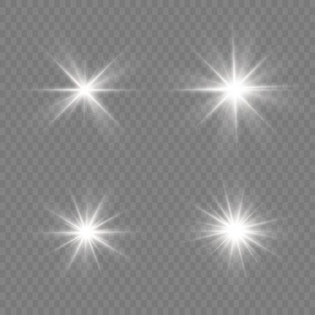 Heller Stern. Transparente strahlende Sonne, heller Blitz. Weiß leuchtendes Licht explodiert auf einem transparenten Hintergrund. Funkelnde magische Staubpartikel. Vektor-Illustration. EPS 10.