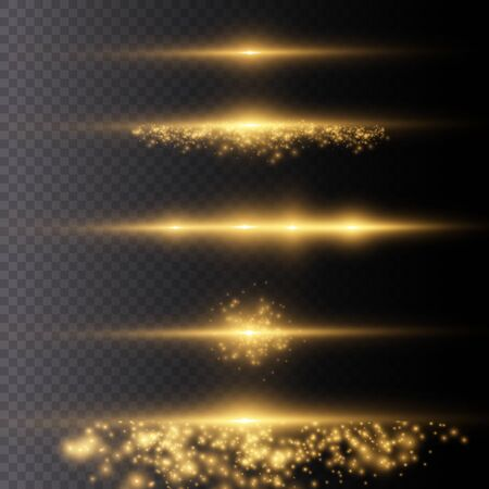 Particules de poussière magiques étincelantes. La lumière rougeoyante jaune explose sur un fond transparent. Soleil brillant transparent, flash lumineux. Pour centrer un flash lumineux. Étoile brillante. Le vecteur scintille. Vecteurs