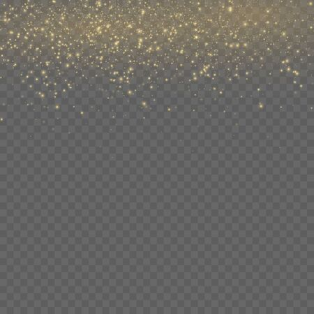 Yellow dust. Beautiful light flashes. Dust particles fly in space. Bokeh effect. Horizontal light rays. Glowing streaks of dust on a dark background.