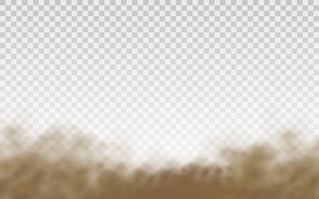 Flying sand. Dust cloud. Brown dusty cloud or dry sand flying with a gust of wind, sandstorm. Brown smoke realistic texture. vector illustration. 写真素材 - 149801654