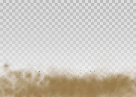 Flying sand. Dust cloud. Brown dusty cloud or dry sand flying with a gust of wind, sandstorm. Brown smoke realistic texture. vector illustration.  イラスト・ベクター素材