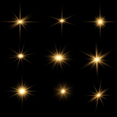 Set of bright Star. Yellow glowing light explodes on a transparent background. Transparent shining sun, bright flash. To center a bright flash. Sparkling magical dust particles. Vector sparkles. Vecteurs