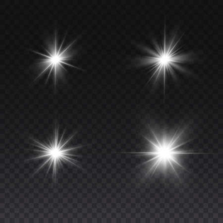 Bright Star. Transparent shining sun, bright flash. White glowing light explodes on a transparent background. Sparkling magical dust particles. Vettoriali