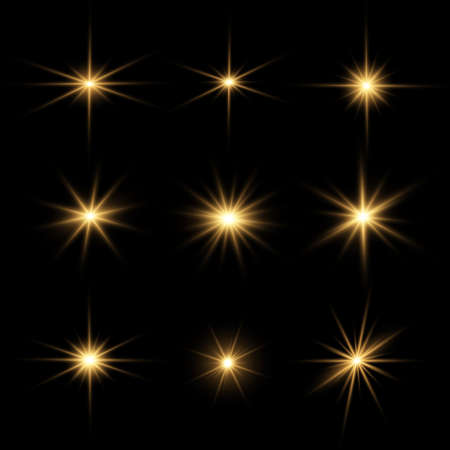 Set of bright Star. Yellow glowing light explodes on a transparent background. Transparent shining sun, bright flash. To center a bright flash. Sparkling magical dust particles. Vector sparkles. Vettoriali