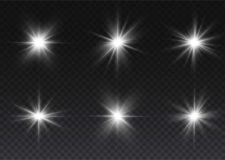 Bright Star. Transparent shining sun, bright flash. White glowing light explodes on a transparent background. Sparkling magical dust particles.
