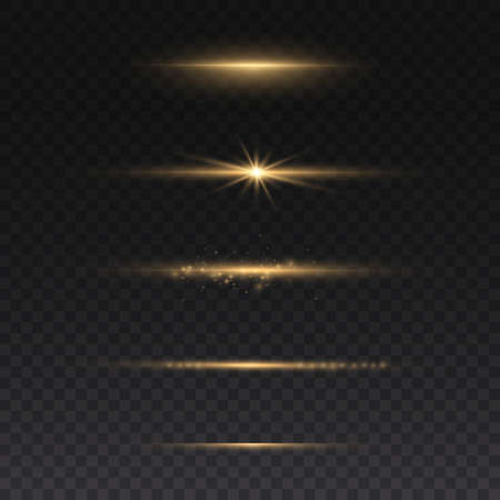 Sparkling magical dust particles. Yellow glowing light explodes on a transparent background. Transparent shining sun, bright flash. To center a bright flash. Bright Star. Vector sparkles. Vettoriali