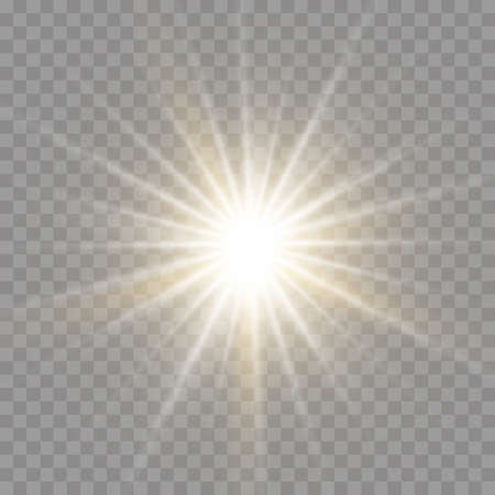 Set of bright Star. Yellow glowing light explodes on a transparent background. Transparent shining sun, bright flash. To center a bright flash. Sparkling magical dust particles. Vector sparkles.
