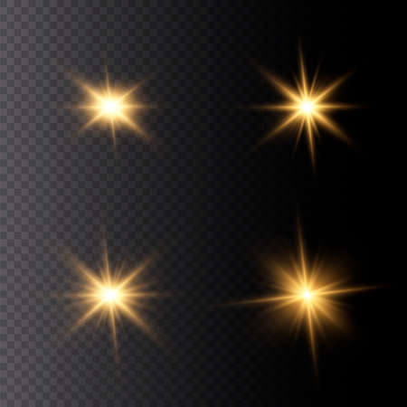 Set of bright Star. Yellow glowing light explodes on a transparent background. Transparent shining sun, bright flash. To center a bright flash. Sparkling magical dust particles. Vector sparkles. 免版税图像 - 157595779