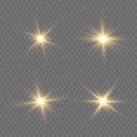 Set of bright Star. Yellow glowing light explodes on a transparent background. Transparent shining sun, bright flash. To center a bright flash. Sparkling magical dust particles. Vector sparkles. 免版税图像 - 157595790