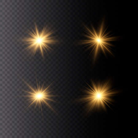 Set of bright Star. Yellow glowing light explodes on a transparent background. Transparent shining sun, bright flash. To center a bright flash. Sparkling magical dust particles. Vector sparkles. 免版税图像 - 157595794