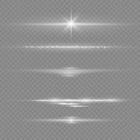 To center a bright flash. Transparent shining sun, bright flash. White glowing light explodes on a transparent background. Sparkling magical dust particles. Bright Star. Vector sparkles. 免版税图像 - 157595796