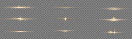 Sparkling magical dust particles. Yellow glowing light explodes on a transparent background. Transparent shining sun, bright flash. To center a bright flash. Bright Star. Vector sparkles. 免版税图像 - 157595807