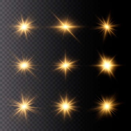 Set of bright Star. Yellow glowing light explodes on a transparent background. Transparent shining sun, bright flash. To center a bright flash. Sparkling magical dust particles. Vector sparkles. 免版税图像 - 155845231