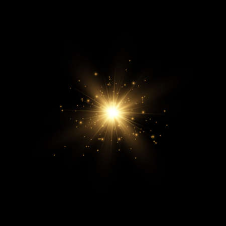 Set of bright Star. Yellow glowing light explodes on a transparent background. Transparent shining sun, bright flash. To center a bright flash. Sparkling magical dust particles. Vector sparkles. Illustration