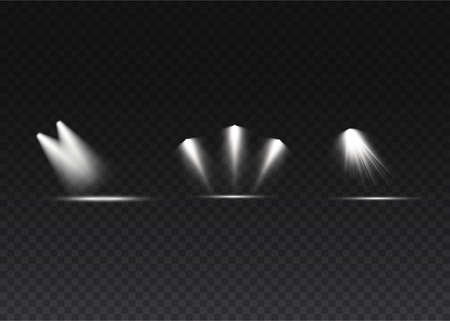 The spotlight shines on the stage. light exclusive use lens flash light effect. light from a lamp or spotlight. lighted scene. podium under the spotlight. Illustration