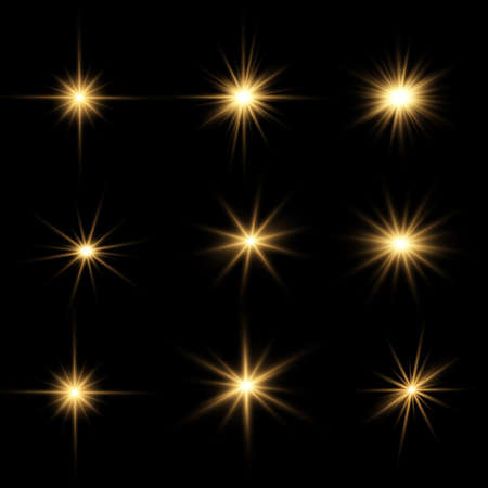 Set of bright Star. Yellow glowing light explodes on a transparent background. Transparent shining sun, bright flash. To center a bright flash. Sparkling magical dust particles. Vector sparkles. 免版税图像 - 155050316