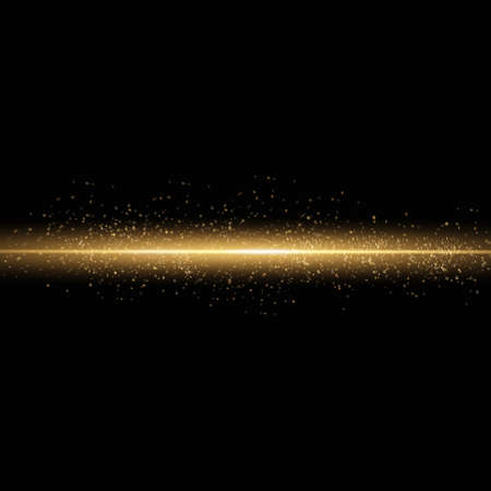 Sparkling magical dust particles. Yellow glowing light explodes on a transparent background. Transparent shining sun, bright flash. To center a bright flash. Bright Star. Vector sparkles. 免版税图像 - 155050332