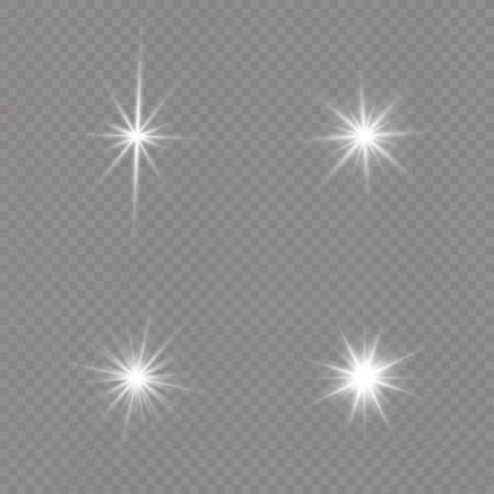 Bright Star. Transparent shining sun, bright flash. White glowing light explodes on a transparent background. Sparkling magical dust particles. Vector illustration. EPS 10. 免版税图像 - 155845256