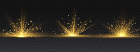 Transparent shining sun, bright flash. Yellow glowing light explodes on a transparent background. To center a bright flash. Sparkling magical dust particles. Bright Star. Vector sparkles. 免版税图像 - 155845257