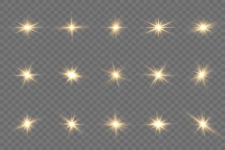 Set of bright Star. Yellow glowing light explodes on a transparent background. Transparent shining sun, bright flash. To center a bright flash. Sparkling magical dust particles. Vector sparkles. 矢量图像