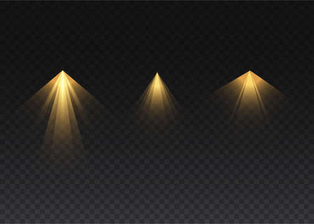 The yellow spotlight shines on the stage. light exclusive use lens flash light effect. abstract light from a lamp or spotlight. lighted scene. podium under the spotlight. vector Illustration