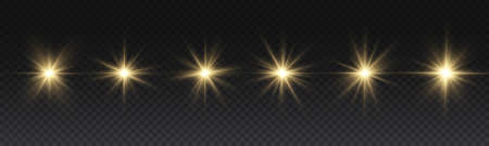 Set of bright Star. Yellow glowing light explodes on a transparent background. Transparent shining sun, bright flash. To center a bright flash. Sparkling magical dust particles. Vector sparkles. 免版税图像 - 155845283