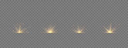 Transparent shining sun, bright flash. Yellow glowing light explodes on a transparent background. To center a bright flash. Sparkling magical dust particles. Bright Star. Vector sparkles.