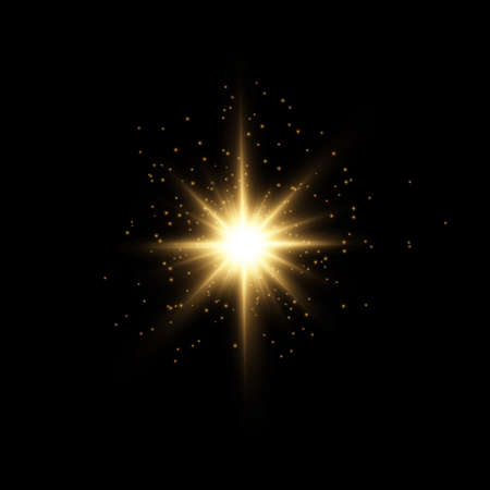 Set of bright Star. Yellow glowing light explodes on a transparent background. Transparent shining sun, bright flash. To center a bright flash. Sparkling magical dust particles. Vector sparkles. 免版税图像 - 157595889