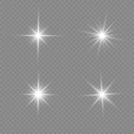 Bright Star. Transparent shining sun, bright flash. White glowing light explodes on a transparent background. Sparkling magical dust particles. Vector illustration. EPS 10. 免版税图像 - 157595893