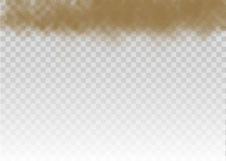 Flying sand. Dust cloud. Brown dusty cloud or dry sand flying with a gust of wind, sandstorm. Brown smoke realistic texture. vector illustration. 矢量图像