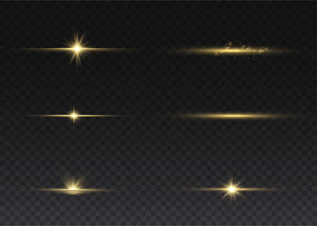 Sparkling magical dust particles. Yellow glowing light explodes on a transparent background. Transparent shining sun, bright flash. To center a bright flash. Bright Star. Vector sparkles. 矢量图像