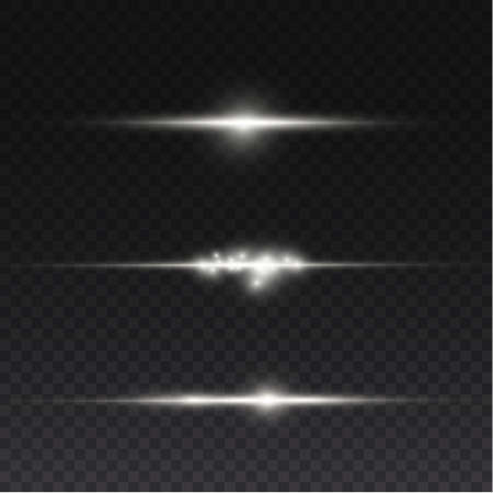 To center a bright flash. Transparent shining sun, bright flash. White glowing light explodes on a transparent background. Sparkling magical dust particles. Bright Star. Vector sparkles. 免版税图像 - 155845438