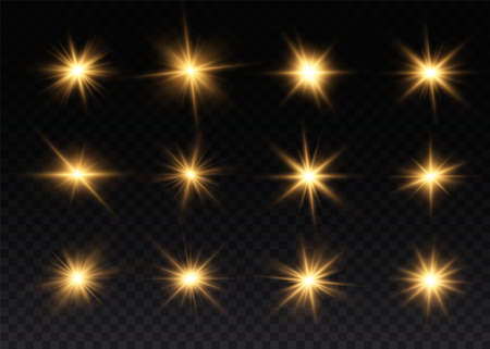 Set of bright Star. Yellow glowing light explodes on a transparent background. Transparent shining sun, bright flash. To center a bright flash. Sparkling magical dust particles. Vector sparkles. 免版税图像 - 155845443