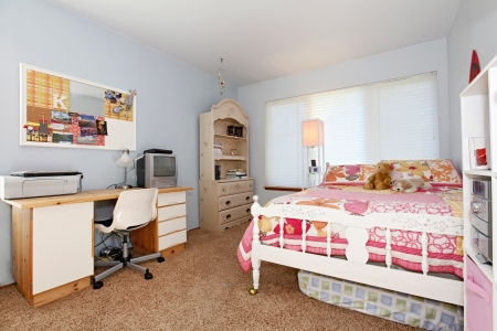 Girls bedroom in blue and pink