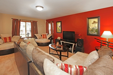 Asian style of living room with asian art and red wall photo
