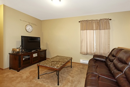 Light green walls and brown leather sofa in television room