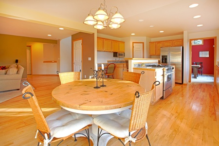 Large kitchen with breakfast area photo