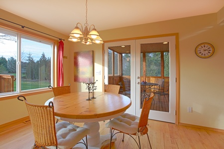 designer chair: Sunny yellow breakfast room Stock Photo