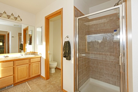 Bathroom with shower door Stock Photo - 12314090