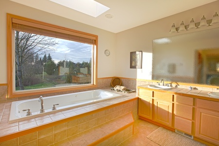 Bathroom with a large tub and window view Stock Photo - 12314123
