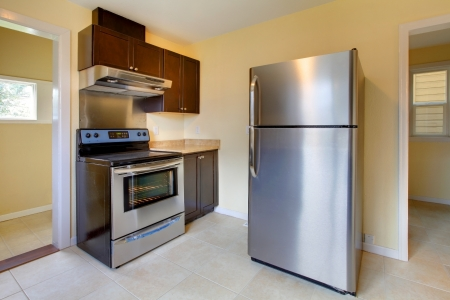 refrigerator: New modern kitchen with stove and refrigerator