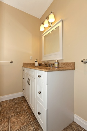 White cabinet with sink in bathroom Stock Photo - 12312728