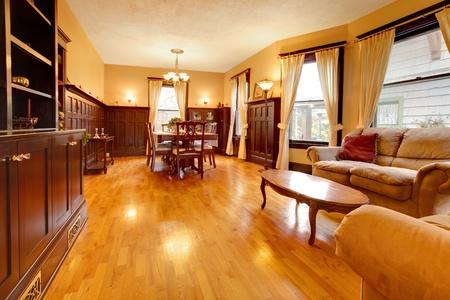 De lujo de oro de caoba sala de estar y de madera Foto de archivo - 12312742