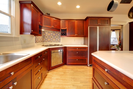 Luxury cherry kitchen with very beautiful wood photo