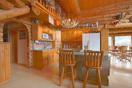 Rustic log cabin on the horse farm