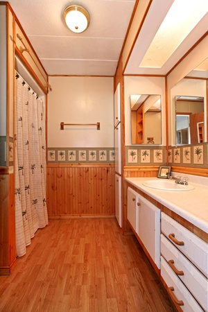 wood molding: Bathroom with pine trees and wood molding Stock Photo