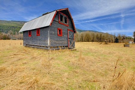 Build in 1907 old shed in Ashford, near Mt.Ranier, Washington State Stock Photo - 12312198